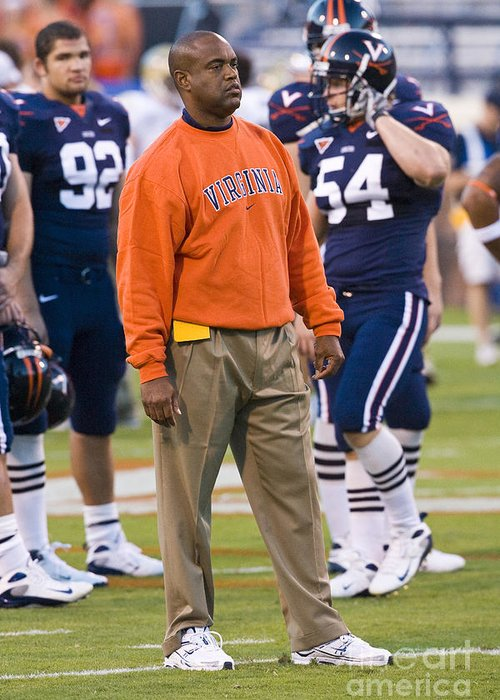 Mike London Greeting Card featuring the photograph Mike London University Of Virginia Football by Jason O Watson
