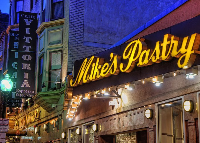 Mike's Pastry Greeting Card featuring the photograph Mike's Pastry Shop - Boston by Joann Vitali