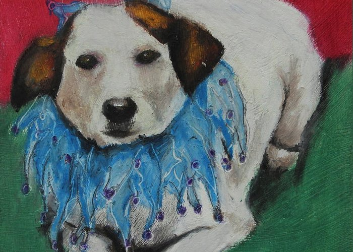 Mammal Greeting Card featuring the painting Mikey by Jeanne Fischer