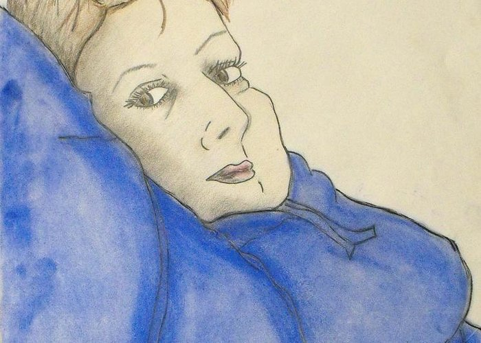 Woman Laying Back Greeting Card featuring the mixed media Mikki In Blue by Catherine Ratliff