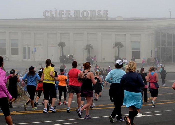 Nike Greeting Card featuring the photograph Mile 10 At Cliffhouse by Dean Ferreira