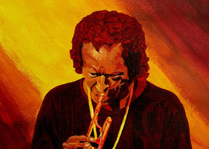 Miles Davis Greeting Card featuring the painting Miles Davis Jazz Man by Anthony Dunphy
