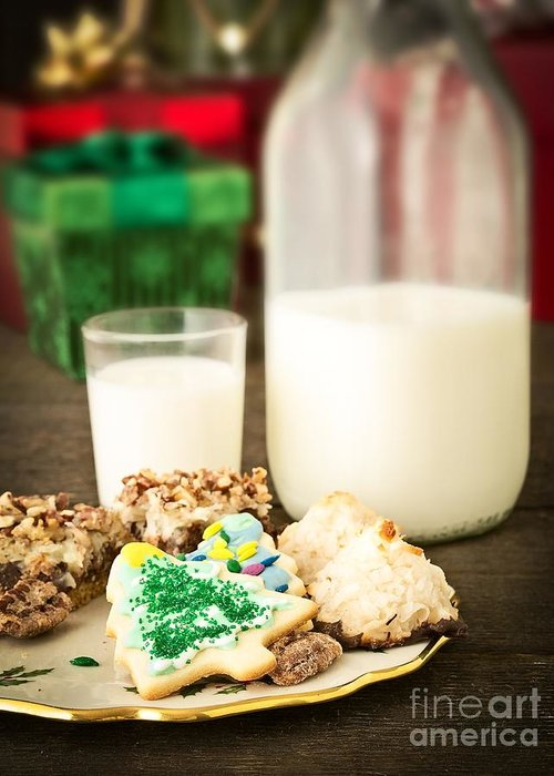 Christmas Greeting Card featuring the photograph Milk And Cookies by Edward Fielding