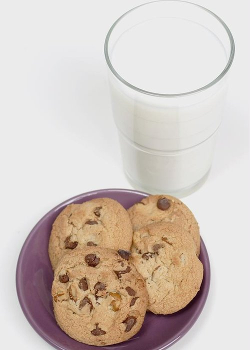 Appetite Greeting Card featuring the photograph Milk And Cookies by Greenwood GNP
