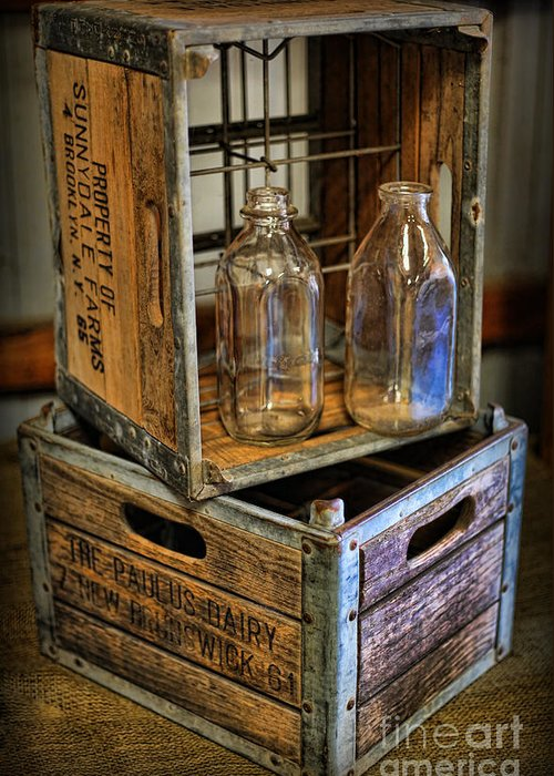 Milk Bottles And Crate Greeting Card featuring the photograph Milk Bottles And Crates by Lee Dos Santos