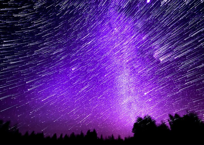 Jupiter Greeting Card featuring the photograph Milky Way And Star Trails by Aaron Priest