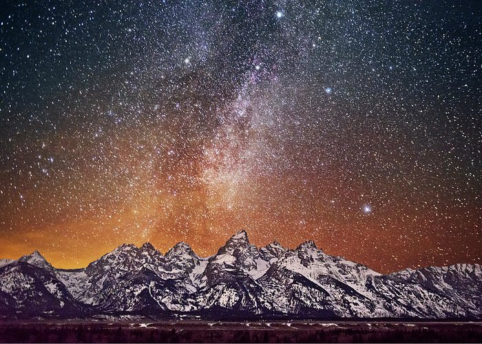 Tranquility Greeting Card featuring the photograph Milky Way Over Grand Teton by Chen Su