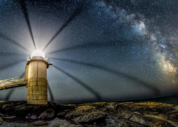 Milky Way Greeting Card featuring the photograph Milky Way Over Marshall Point by Stephen Ippolito