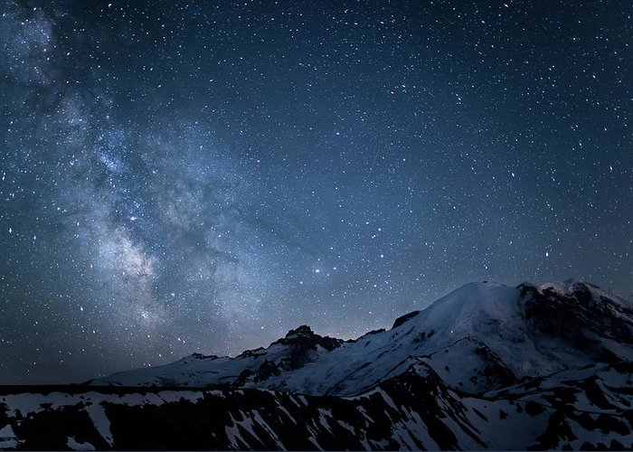 Scenics Greeting Card featuring the photograph Milky Way Over Mount Rainier by Ed Leckert