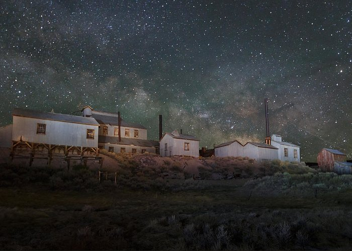 Bodie Greeting Card featuring the photograph Milky Way Over Standard Mill by Jeff Sullivan