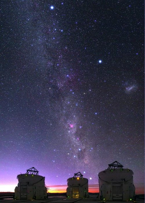 Milky Way Over Vlt Telescopes Greeting Card