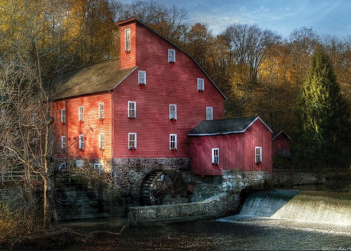 Savad Greeting Card featuring the photograph Mill - Clinton Nj - The Old Mill by Mike Savad