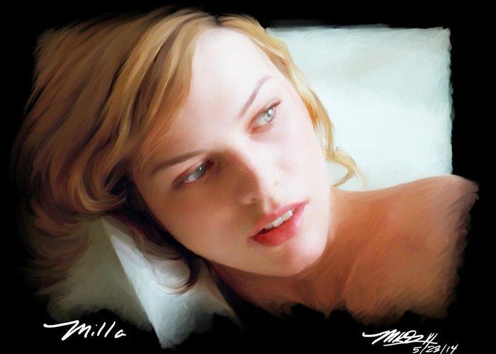 Milla Jovovich Greeting Card featuring the digital art Milla by Mark Gallegos