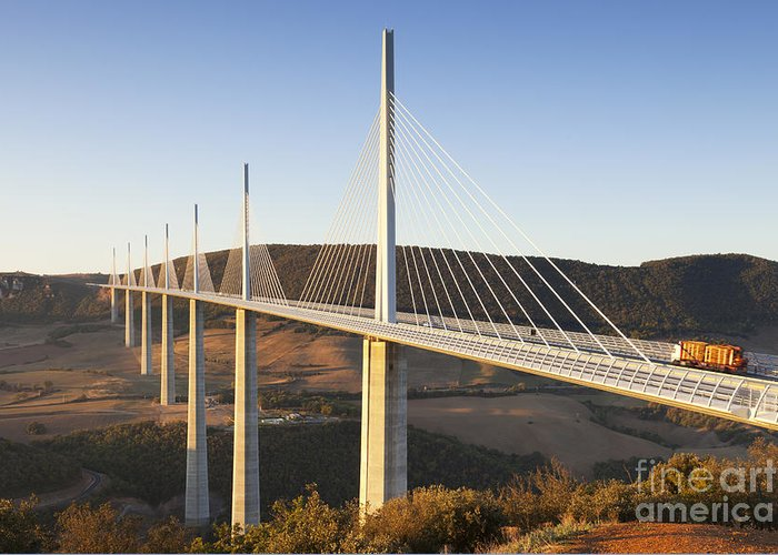 Bridge Greeting Card featuring the photograph Millau Viaduct At Sunrise Midi Pyrenees France by Colin and Linda McKie