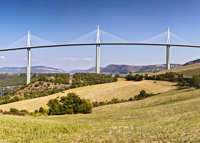 A75 Greeting Card featuring the photograph Millau Viaduct Panorama Midi Pyrenees France by Colin and Linda McKie