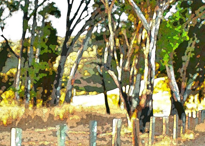 Trees Greeting Card featuring the painting Miller Road by Artist and Photographer Laura Wrede