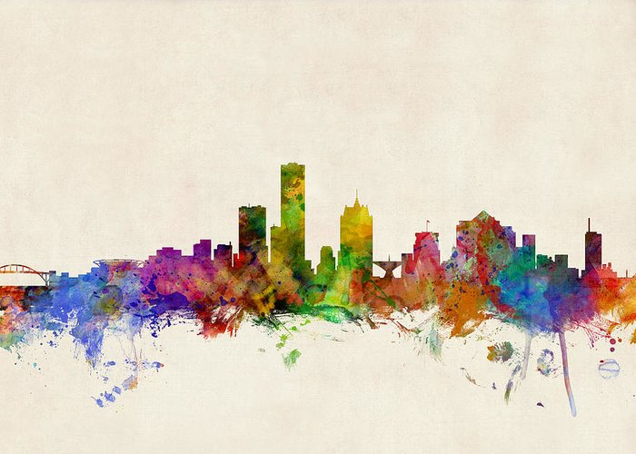 Watercolour Greeting Card featuring the digital art Milwaukee Wisconsin Skyline by Michael Tompsett