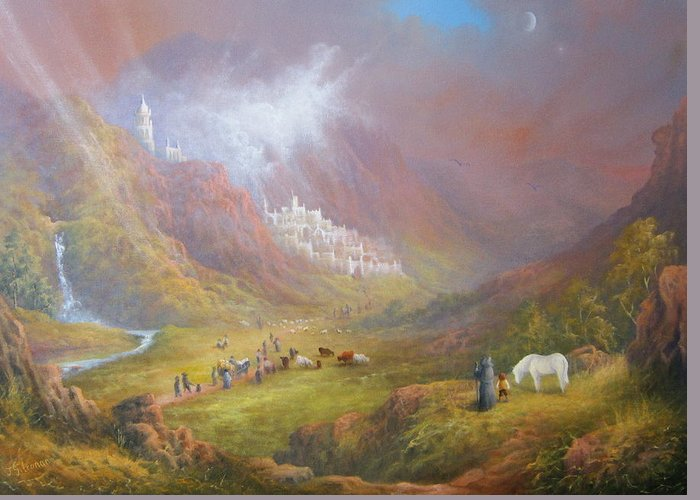 Tolkien Greeting Card featuring the painting Minas Tirith War Approaches. by Joe Gilronan