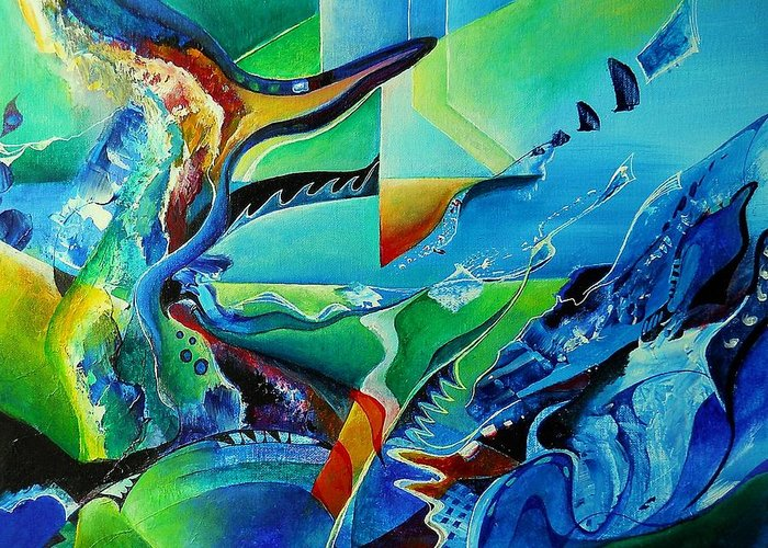Abstract Acrylic Greeting Card featuring the painting mindscape no.2-Improvisation Saxophone and Piano by Wolfgang Schweizer