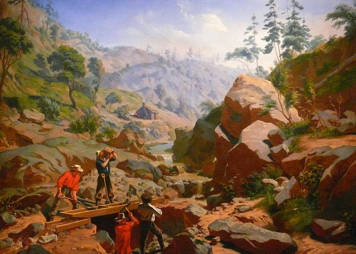 Charles Nahl Greeting Card featuring the digital art Miners In The Sierras by Charles Nahl