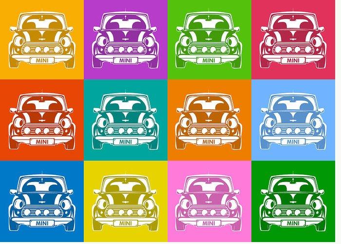 Mini Cooper Greeting Card featuring the digital art Mini Cooper Squares by Michael Tompsett