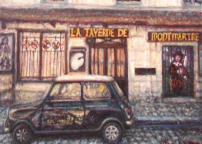 Quin Sweetman Greeting Card featuring the painting Mini De Montmartre by Quin Sweetman
