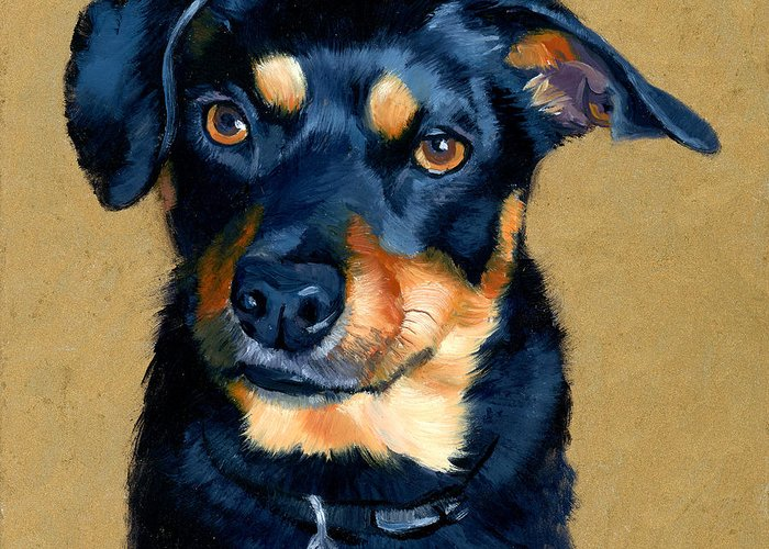 Dog Greeting Card featuring the painting Miniature Pinscher Dog Painting by Alice Leggett