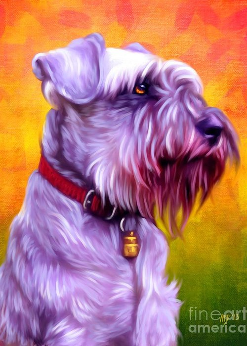 Dog Paintings Greeting Card featuring the painting Miniature Schnauzer Art by Iain McDonald
