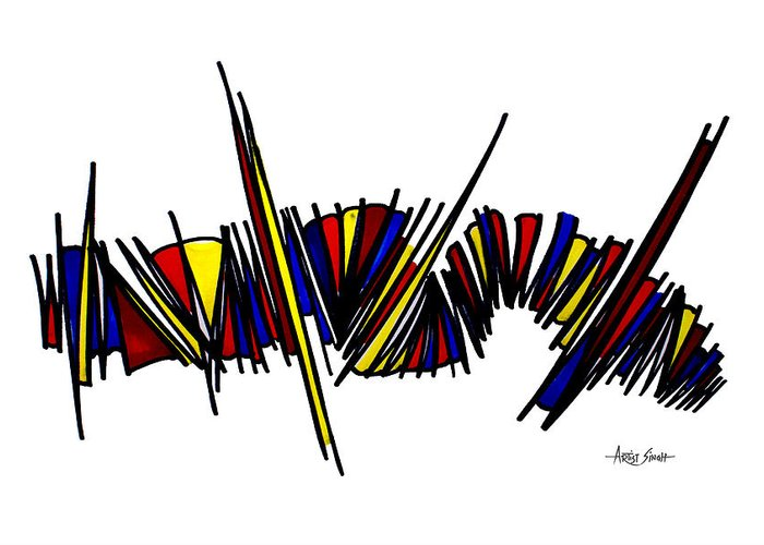 Abstract Painting Greeting Card featuring the painting Minimalist 1 White by Real ARTIST SINGH