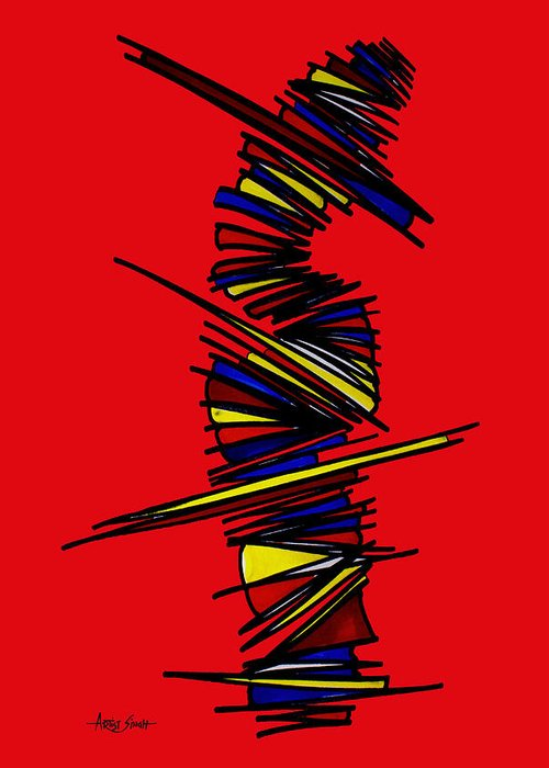 Abstract Painting Greeting Card featuring the painting Minimalist 2 Red by Real ARTIST SINGH