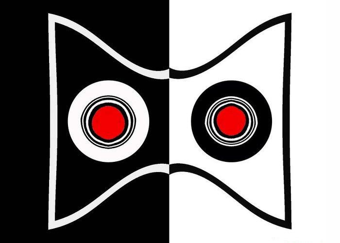 Minimalist Art Greeting Card featuring the digital art Minimalist Art Geometric Black White Red Abstract Print No.50. by Drinka Mercep