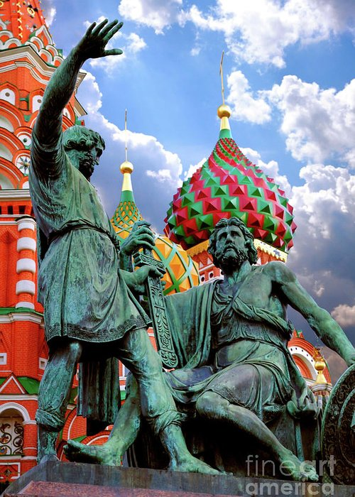 Red Square Greeting Card featuring the photograph Minin And Pozharsky Monument In Moscow by Oleksiy Maksymenko