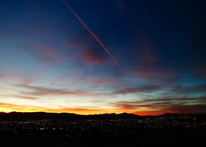 Sunset Greeting Card featuring the photograph Mining City Sunset by Kevin Bone