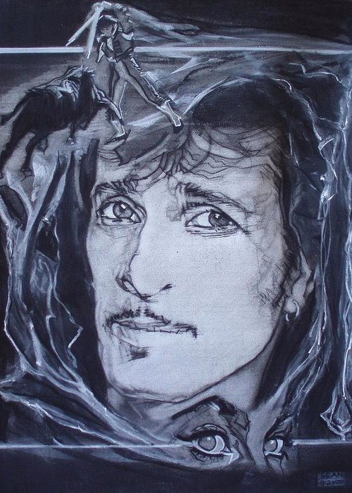 Charcoal;mink Deville;new York City;gina Lollabrigida Eyes ;cat Eyes;bullfight;toreador;swords;death;smoke;blues Greeting Card featuring the drawing Willy Deville - Coup De Grace by Sean Connolly