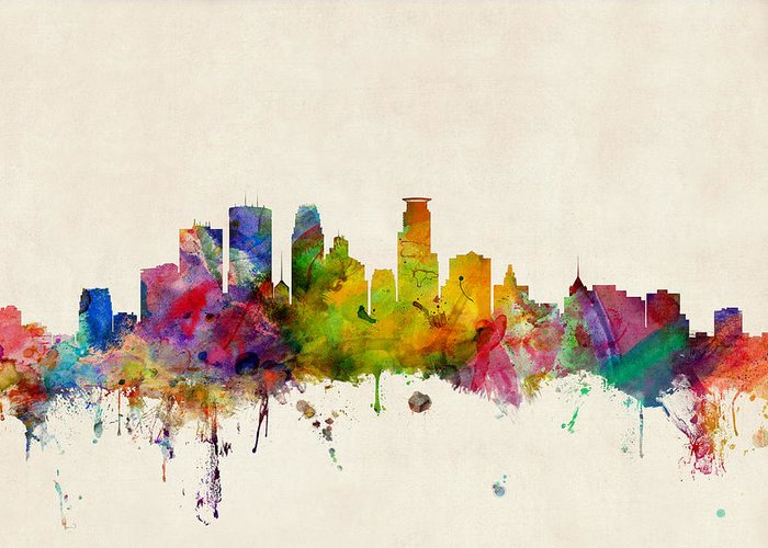 Watercolour Greeting Card featuring the digital art Minneapolis Minnesota Skyline by Michael Tompsett
