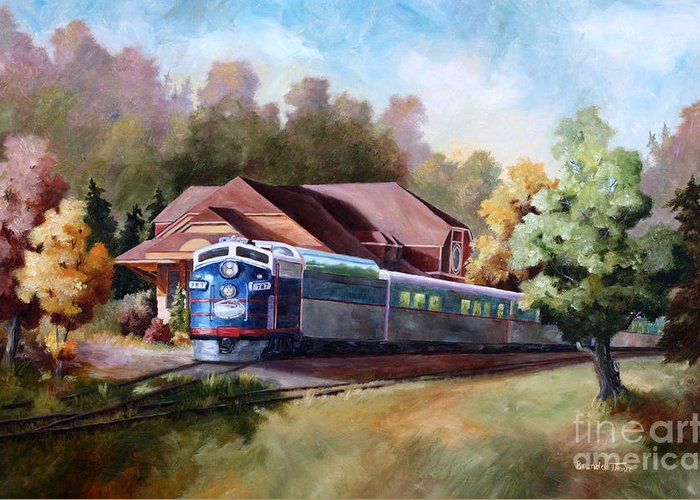 Train Fall train Painting Station Building Structure Minnesota train Station Oil Painting Original Greeting Card featuring the painting Minnesota Zephyr by Brenda Thour