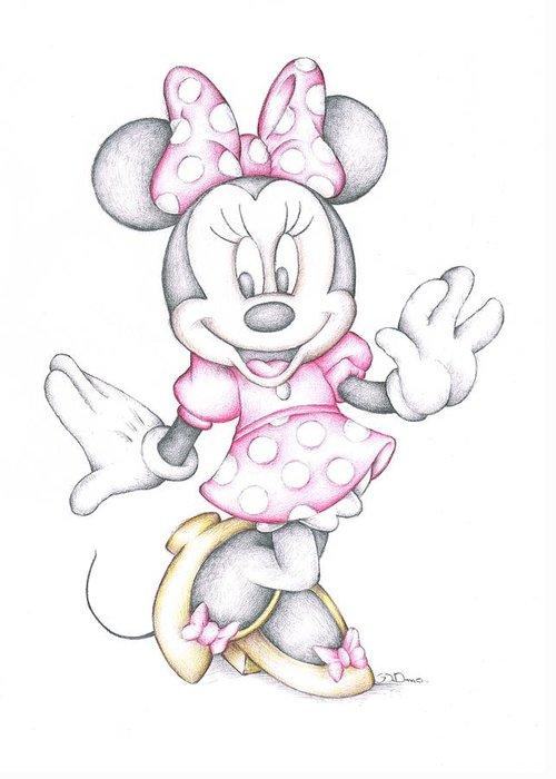 Minnie mouse disney cartoon colour pencil drawing greeting card for minnie mouse greeting card featuring the drawing minnie mouse disney cartoon colour pencil drawing by steven m4hsunfo Choice Image