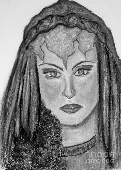 Lady Greeting Card featuring the drawing Mirabella Black White by Lori Lovetere
