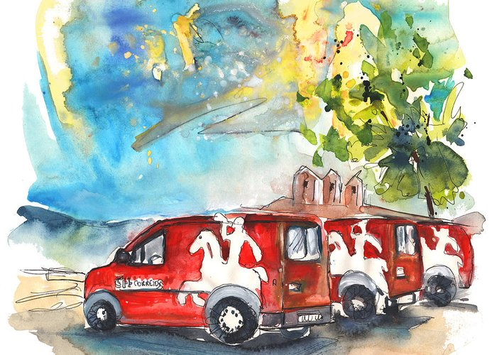 Travel Greeting Card featuring the painting Miranda Do Douro Post Cars by Miki De Goodaboom