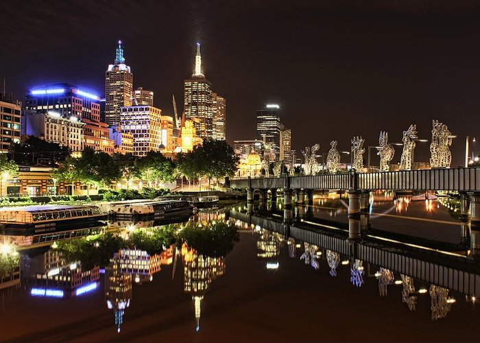 Melbourne Greeting Card featuring the photograph Mirror Image by Andrew Paranavitana