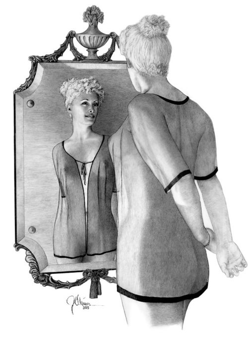 Pencil Drawing Print Greeting Card featuring the drawing Mirror Image by Joe Olivares