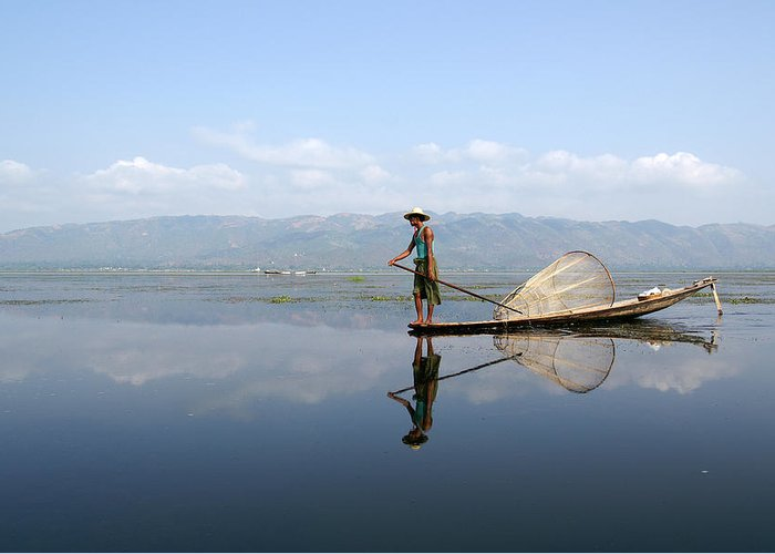 Mirror Greeting Card featuring the photograph Mirror Inle Lake by Jessica Rose