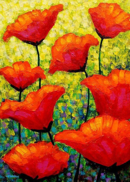 Poppies Greeting Card featuring the painting Mischa's Poppies by John Nolan