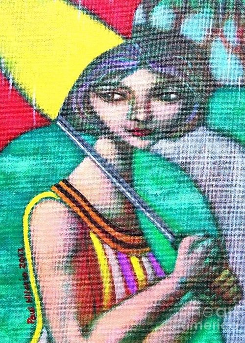 Umbrella Greeting Card featuring the painting Miss Pasukob by Paul Hilario