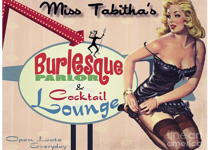 Burlesque Greeting Card featuring the painting Miss Tabithas Burlesque Parlor by Cinema Photography