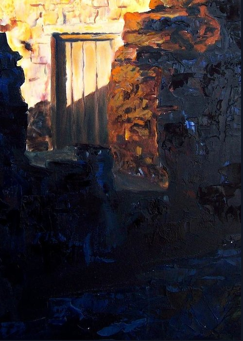 Mission Greeting Card featuring the painting Mission Door At Sunset by Scott Alcorn