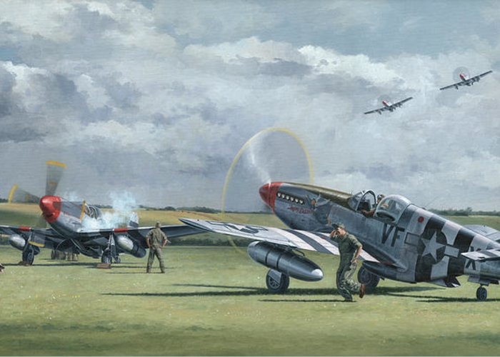 Aviation Art Greeting Card featuring the painting Mission From Debden by Wade Meyers
