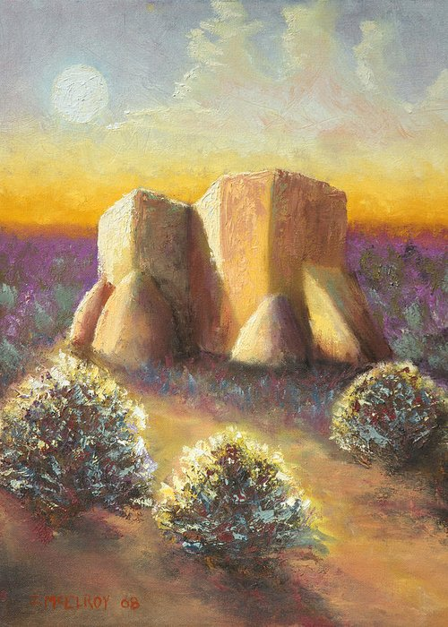 Landscape Greeting Card featuring the painting Mission Imagined by Jerry McElroy