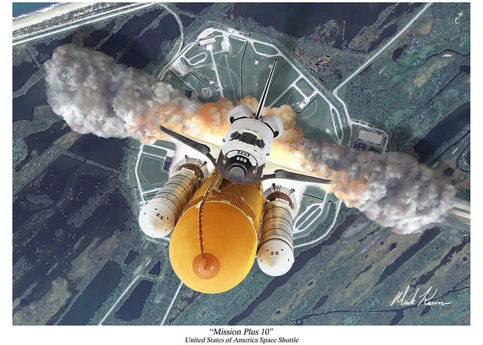 Space Shuttle Greeting Card featuring the painting Mission Plus 10 by Mark Karvon