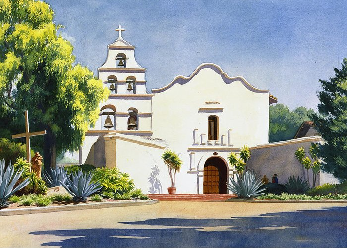 California Mission Greeting Card featuring the painting Mission San Diego De Alcala by Mary Helmreich